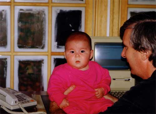 Yuki Baby With Dad On Desk In Hudson Home Office